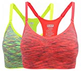 HENNY RUE Women's Comfort Sports Bra Low Support Workout Yoga Bras Pack of 2 L