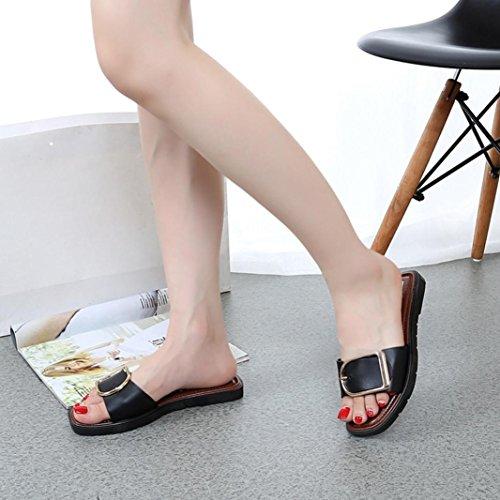 Digood Pantoufles Pour Les Femmes, Les Dames Adolescentes Boucle Décor Ouvert Bout Ouvert Sandales Plates De Bain Chaussures De Bain Noir