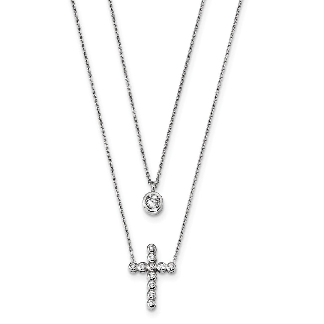 ICE CARATS 925 Sterling Silver Double Strand Cubic Zirconia Cz Cross Religious Chain Necklace Pendant Charm Fine Jewelry Ideal Gifts For Women Gift Set From Heart