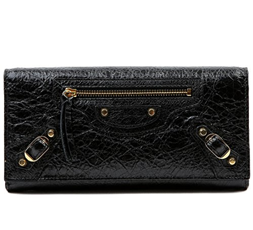 Wiberlux Balenciaga Women's Buckle Detail Textured Real Leather Long Wallet