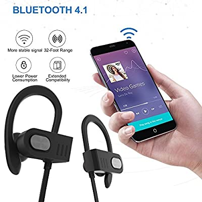 Hhusali Bluetooth Headphones Wireless In Ear Earbuds V4.1 Sports Sweatproof Earphones , Premium Sound with Bass Noise Reducing, Secure Fit Bluetooth Headset for Running, Workout and Gym (Black)