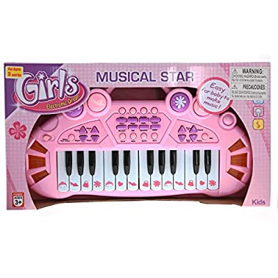 Pretend Play Electronic Keyboard Organ Musical Instrument Kids Toy - Pink: Toys & Games