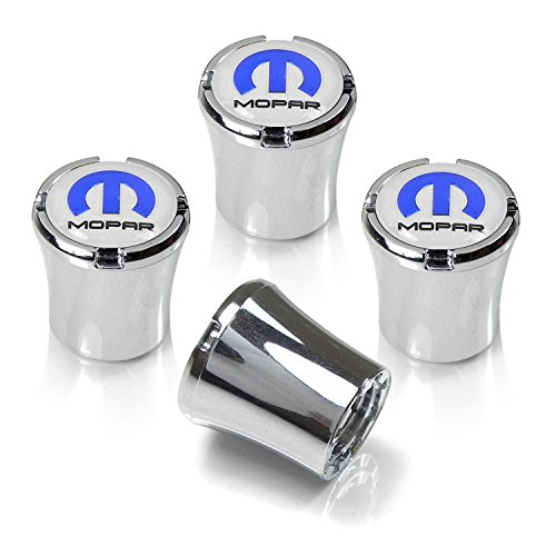 Mopar White Logo Chrome Abs Tire Stem Valve Caps