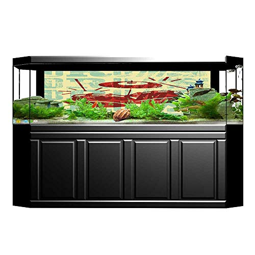 (L-QNhome Decorative Aquarium Background Poster Groovy Drumming Poster Design Percussion Rock Music Instrument Play Vibe Hit Red Yellow Aquarium Sticker Wallpaper Decoration 35.4