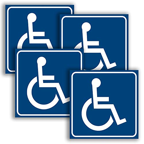 Laminated Sign Sticker - Handicap Signs Stickers Decal Symbol - 4 Pack, 3x3 inch - Disable Wheelchair Sign, Disability Sticker, Premium Self-Adhesive Vinyl, Laminated, Indoor & Outdoor