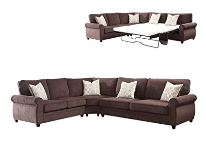 ACME Randolph Chocolate Chenille Sectional Sofa With Sleeper