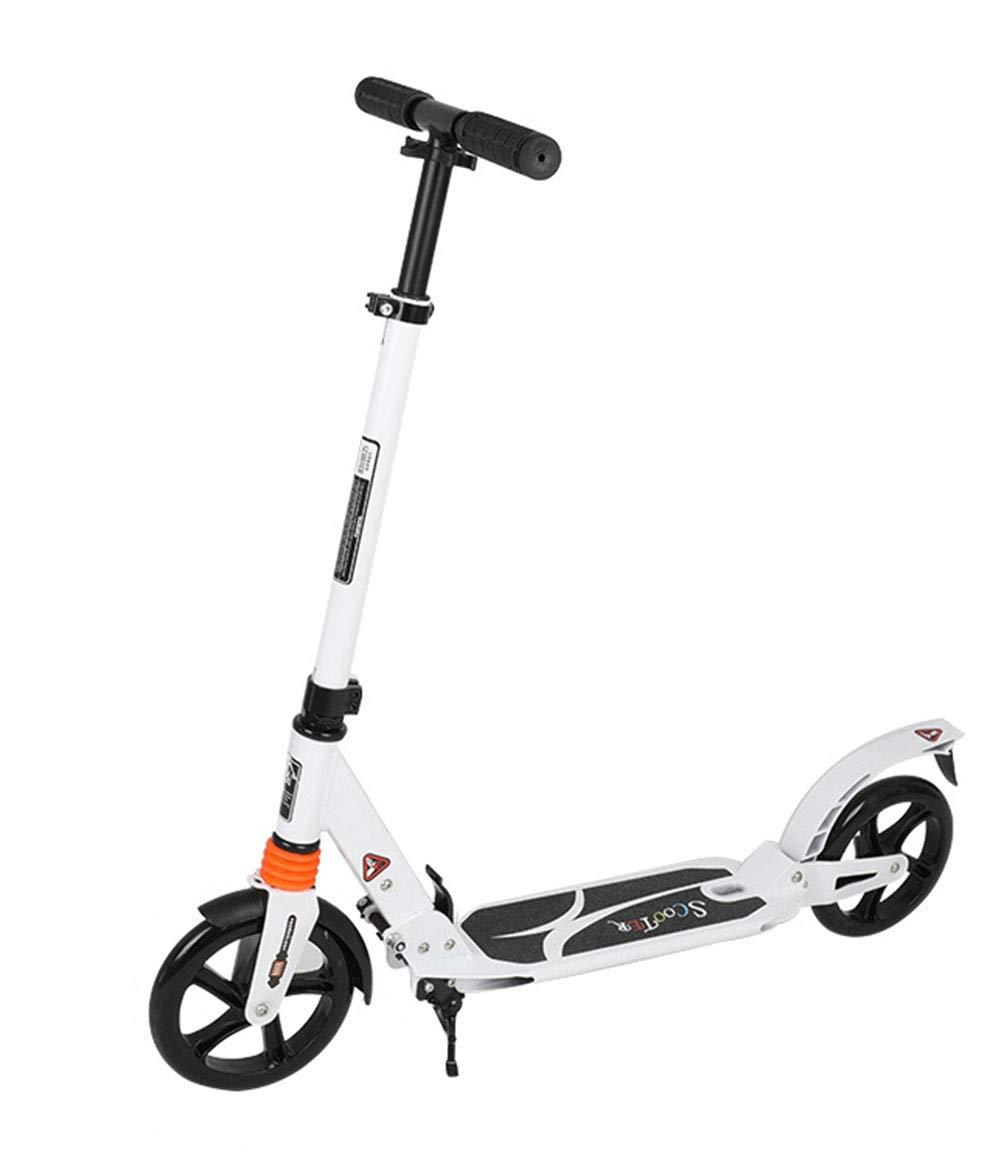 キックスクーター 足踏み式ブレーキ 折りたたみ式 ウィール ハンドブレーキ 持ち運び便利なベ大人 アルミニウム製 立 サイズ115×95cm B07PXYGSTY white white