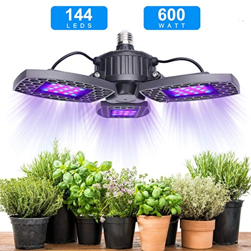 600W LED Grow Light Full Spectrum for Indoor Plants Growing, Veg Bloom Switches 2 Modes Lighting Sunlike IR UV Tri Head Plant Growing Lamp for Hydroponic Veg, Flower, Fruit, Bonsai