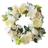 Spring Summer Wreath Artificial White Rose Handmade Home Wall Decor European Style