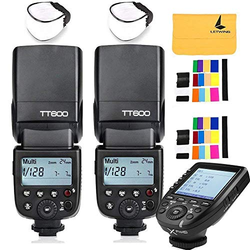 GODOX TT600 2.4G Wireless 2X Camera Flash Speedlite,GODOX XPro-C Wireless Flash Trigger Compatible with Canon EOS Series Cameras,2X Diffuer,2X LETWING Color Filter