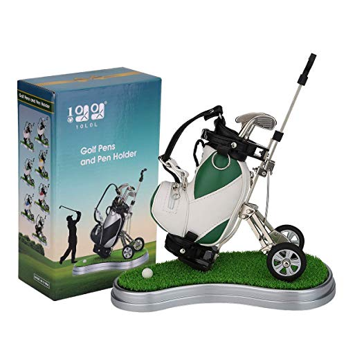 10L0L Golf Pens with Golf Bag Holder,Novelty Gifts with 3 Pieces Aluminum Pen Office Desk Golf Bag Pencil Holder (Green+ White)