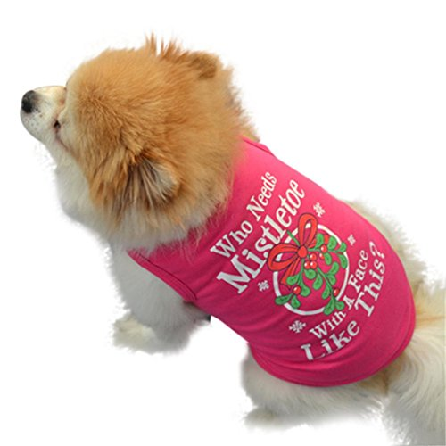 Image of Christmas Dog Clothes, AMA(TM) Pet Puppy Doggie New Year Cotton Vest T-Shirt Costume (M, Hot Pink)