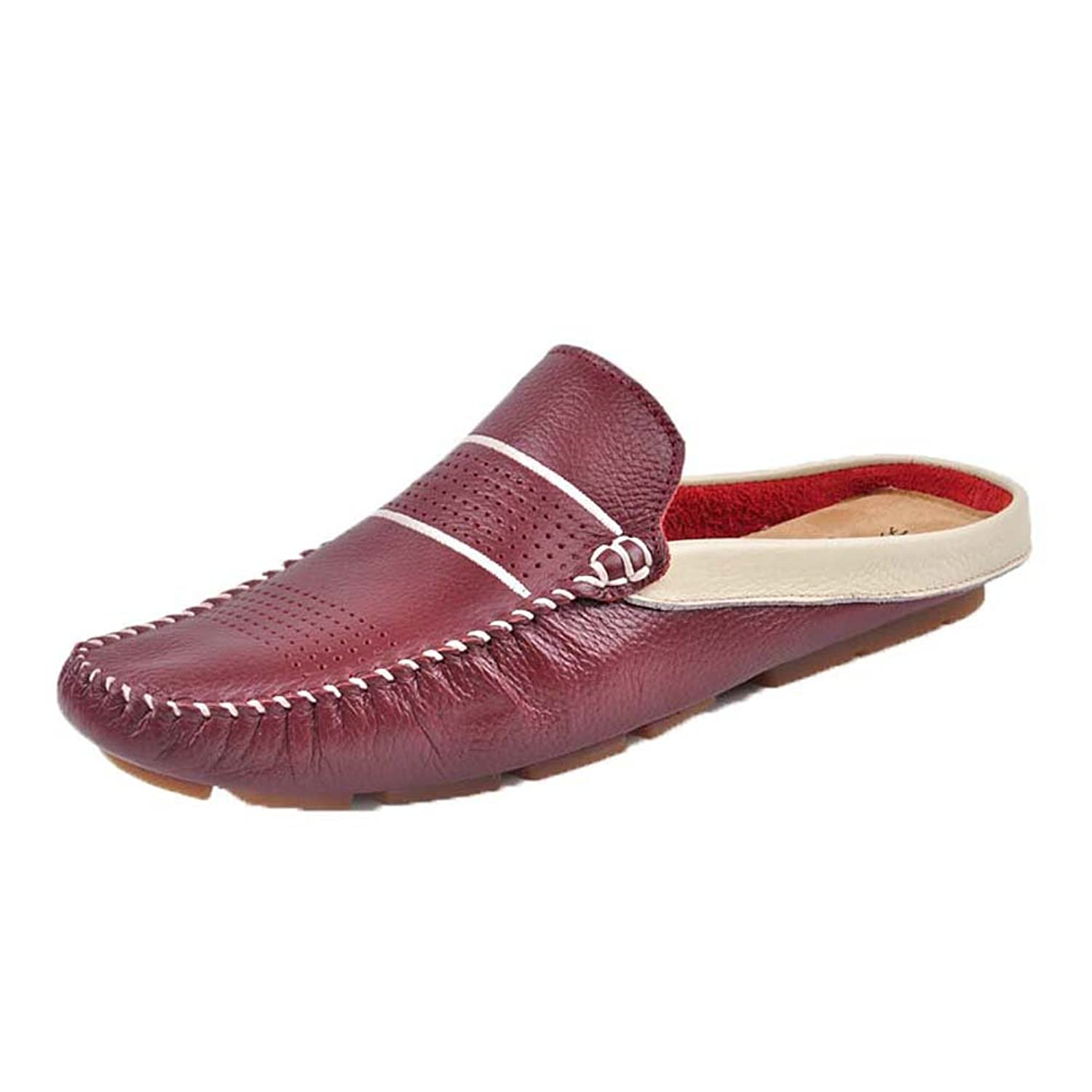 9d651cfbc6045 Santimon Men s Leather Backless Slippers Slip-on Loafters Shoes ...