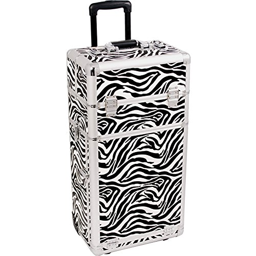 SUNRISE Makeup Case on Wheels I3562 2 in 1 Professional Artist, 3 Trays and 4 Drawers, Brush Holder, Locking with 2 Mirrors and Shoulder Strap, White Zebra