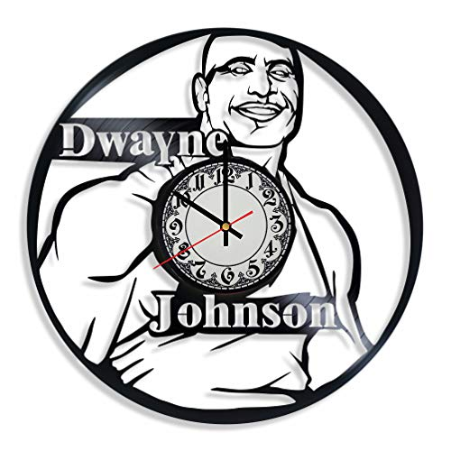 Dwayne Johnson Actor Handmade Vinyl Record Wall Clock, Get Unique Bedroom or Nursery Wall Decor - Gift Ideas for Kids and Teens - Unique Art Design -