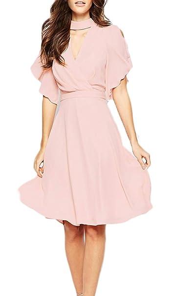 861954483475 Vestito Donna Da Cerimonia Chiffon Eleganti Estivi Corti Vestiti Moda  Giovane Linea Ad A A Pieghe Nuovo