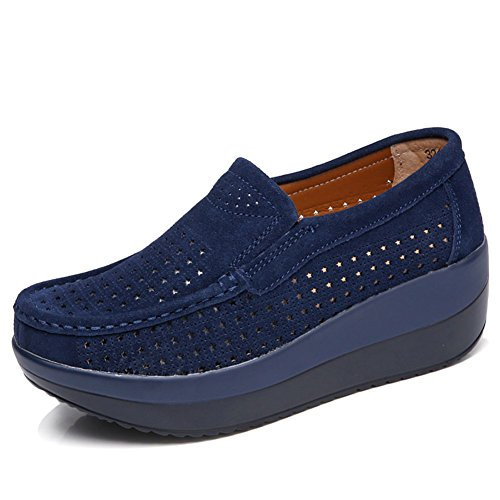 (HKR-GF3213-1shenlan40 Women Hollow Out Slip On Platform Wedge Shoes Suede Loafers Moccasins Comfort Working Shoes Dark Blue 8 B(M) US)