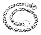 Sterling Silver Oval Flame Link Wallet Chain/Neck Chain with Large Lobster Claw Clasp