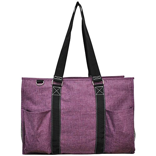 """N. Gil All Purpose Organizer 18"""" Large Utility Tote Bag 3-2017 Spring New Pattern (Crosshatch Cherry)"""