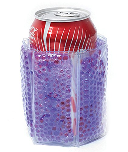 Zees Inc Pocket Bottles Beaded Freezable Can Cooler, Purple