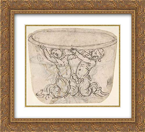 Giovanni Battista Foggini - 32x28 Gold Ornate Frame and Double Matted Museum Art Print - Table or Basin Supported by Male Sirens (Recto); Sketch for The Same Subject (Verso)