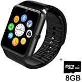Smart Watch,SHONCO Bluetooth SmartWatch Watch Phone with HD Display SIM/TF Card Slot Sync to Samsung ,LG,HTC,Sony and Other Android Smartphones (Black) + 8GB Micro SD Card
