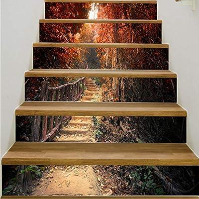 pegatinas de escaleras Creativo europeo pegatinas de escalera en 3D Maple Leaf DIY reformado pegatinas de escalera autoadhesivas pegatinas de pared a prueba de agua decoración del hogar: Amazon.es: Bricolaje y herramientas