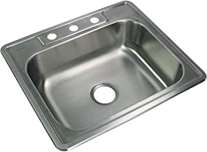 Transolid STSB25227-3 Select 3-Hole Drop-in Single Bowl 20-Gauge Stainless Steel Kitchen Sink, 25-in x 22-in x 7-in, Brushed Finish