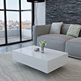 Festnight Modern Coffee Table High Gloss Top Easy Assembly 33.5 x 21.7 x 12.2