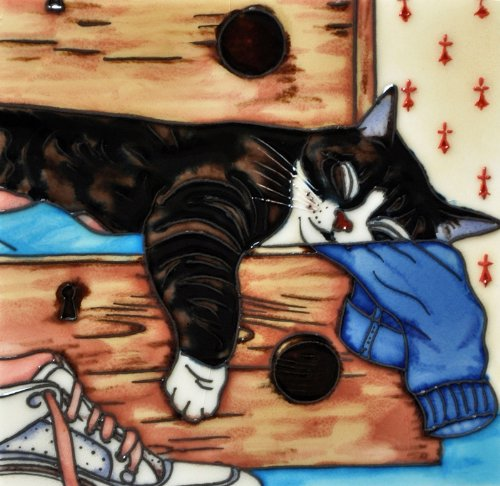 Decorative Ceramic Art Tile Full Drawer Sleepy Cat 8x8 En Vogue