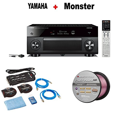 Yamaha AVENTAGE Audio & Video Component Receiver,Black (RX-A3070BL) + Monster Home Theater Accessory Bundle + Monster - Platinum XP 50' Compact Speaker Cable Bundle by Yamaha