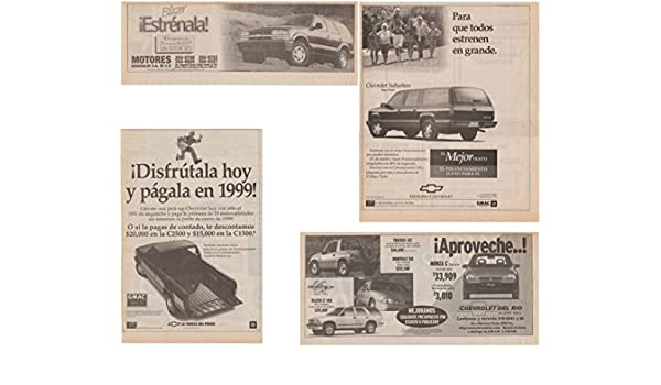 Amazon.com : 1998 CHEVROLET SUBURBAN, C1500/C2500 PICKUP, TRACKER/BLAZER/MONZA & BLAZER LOT of 4 LARGE VINTAGE NEWSPAPER NON-COLOR AD ADS - MEXICO - GREAT ...