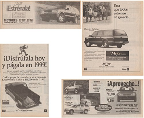 Monza Corvette (1998 CHEVROLET SUBURBAN, C1500/C2500 PICKUP, TRACKER/BLAZER/MONZA & BLAZER LOT of 4 LARGE VINTAGE NEWSPAPER NON-COLOR AD ADS - MEXICO - GREAT ORIGINALS !!)