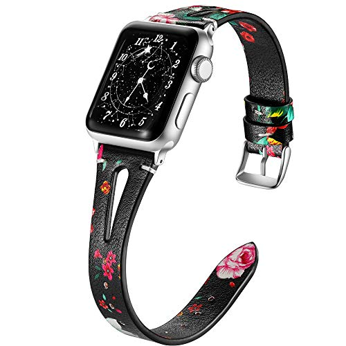 (Haveda Leather Bands Compatible with Apple Watch Band 44mm 42mm, Soft Slim Feminine Women Floral Wristband for iWatch, Apple Watch Series 4/3/2/1, Red Floral)