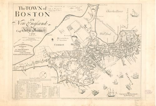 1890 Map The town of Boston in New England - Size: 18x24 - Ready to Frame - Boston | Massachusetts | (Christmas England Facts About In)