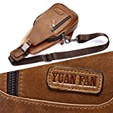 Leather Sling Bag for Men Women,Crossbody Purse