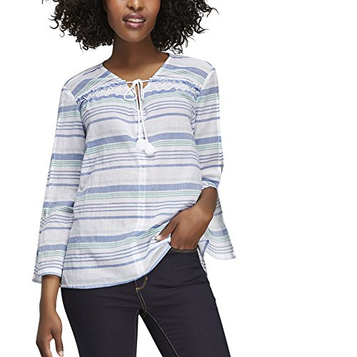 Joe Fresh Women's Stripe Split Sleeve Blouse S Pale Green (Green Apparel Fresh)