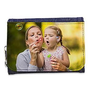 Lolapix - Cartera Tejana Personalizada con tu Foto, diseño o Texto, Original y Exclusivo. Tejido Tejano Azul 5