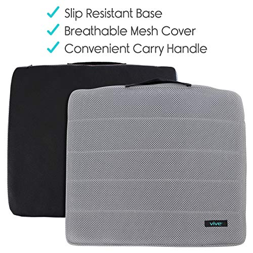 Vive Gel Seat Pad Cushion (Gray) - Orthopedic Seating for Cars, Outdoors, Stadium, Truck, Van, Office, Wheelchairs - For Coccyx, Butt Bone, Tailbone Pain, Lower Back, Sciatica - Sitting Pillow by Vive (Image #3)