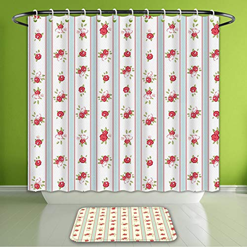 Waterproof Shower Curtain and Bath Rug Set Shabby Chic Decor Vertical Borders Cute Rose Blossoms Cottage Country Home Baby Blue Dark Coral Bath Curtain and Doormat Suit for Bathroom 72