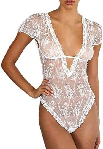 b99c5fee983 Women Sexy Lingerie Lace Underwear Sleepwear Bodysuit Siamese V-Neck See  Through One Piece Teddy