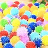 TECH-P Arts Craft Pom Poms Glitter Poms Sparkle Balls– Assorted Color (25mm- 500 Pack)