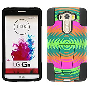 LG G3 Hybrid Case Orange Green Pink Cicular Pattern 2 Piece Style Silicone Case Cover with Stand for LG G3