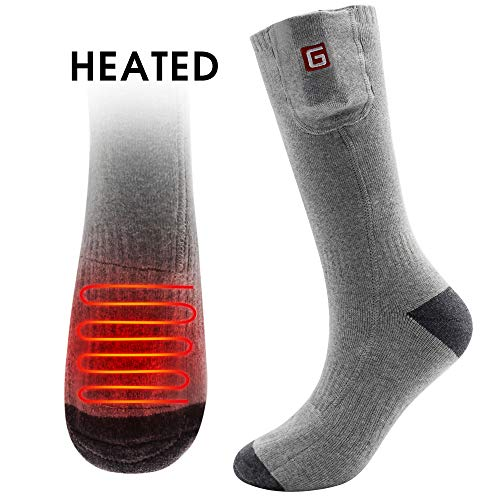 Socks Keep Your Feet Warm - QILOVE Electric Heated Socks Rechargeable Battery Operated Men Women Heating Socks Foot Warmers Hunting Camping Skiing Warming Sox for Cold Feet to Keep Your Foot Warm Gray