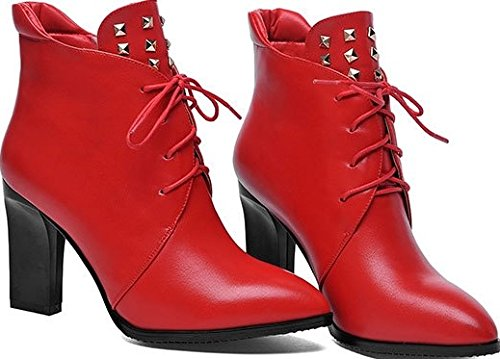 Women's Boot Pointed Laruise Rivet Martens Toe Red Aq47fxnw
