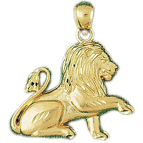 14K Yellow Gold Lion Pendant Necklace - 31 mm 14k Yellow Gold Lion Pendant