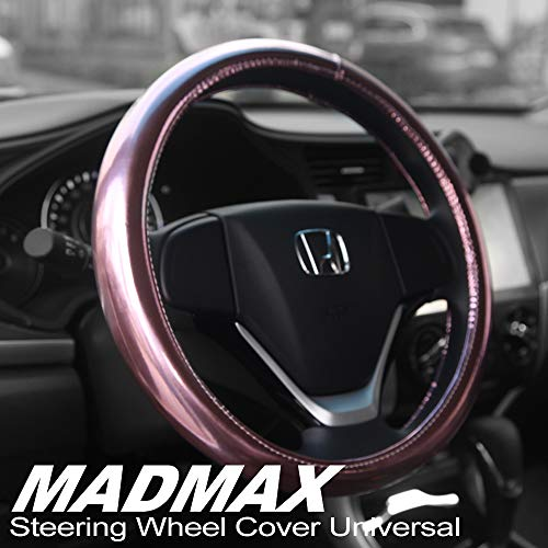 - Madmax Steering Wheel Cover, Universal 14.5 Inches PU Leather Wheel Cover, Glossy Finish, Soft Padding, Durable, Odorless, Synthetic Leather, Comfort Grip Handle ... (Pink)