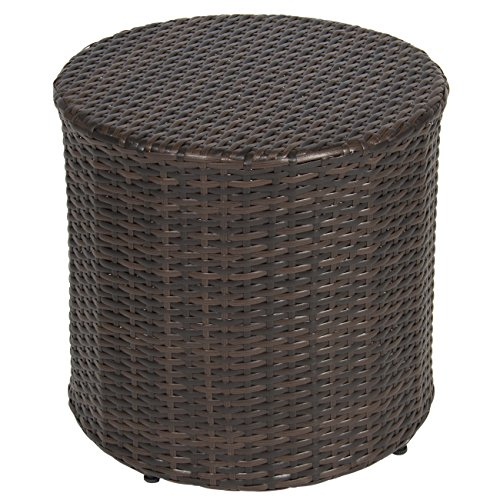 (Best Choice Products Outdoor Wicker Rattan Barrel Side Table Patio Furniture Garden Backyard Pool)