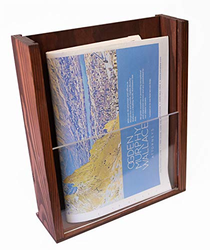Premium Wood Magazine Display/Brochure Holder - Large Countertop Stand with Acrylic Front - Handmade and Stained - 10.25