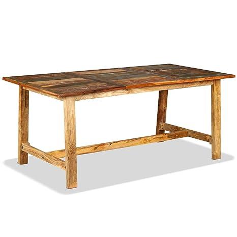 Zora Walter Table de Jardin en Bois Massif recyclé avec 1 ...